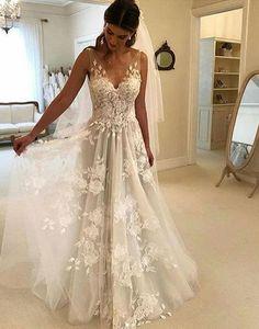 White v neck tulle lace long prom dress, evening dress #promdress #promgown #evening