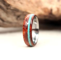 Turquoise Stone Inlay Ring from Wedgewood Rings on Etsy