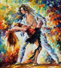 Tango's Love — PALETTE KNIFE Figures Oil Painting On Canvas By Leonid Afremov, $319.00