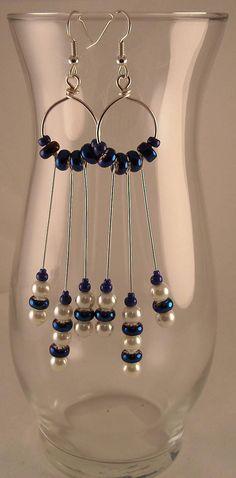 Crystal Sapphire Iris Beads White Glass Pearls Beaded Dangle