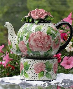 Rose teapot/teacup for one