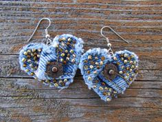 Earring  HeartShaped Recycled Levi's Denim  by daringmisslassiter, $15.00