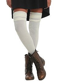 HOTTOPIC.COM - LOVEsick Cream Ruffle Top Over-The-Knee Socks