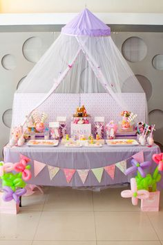 pink and purple fairy princess birthday party dessert buffet