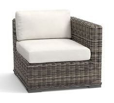 Huntington All-Weather Wicker Sectional Right Square-Arm Chair & Cushion