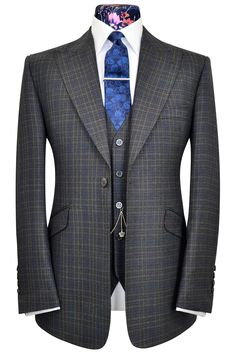 Charcoal on grey three piece peak lapel suit with cobalt blue over-check