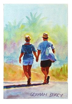 """Daily+Paintworks+-+""""Walking+to+the+beach""""+-+Original+Fine+Art+for+Sale+-+©+Graham+Berry"""
