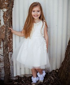 Just Couture White Lace-Accent A-Line Dress - Infant, Toddler & Girls | zulily