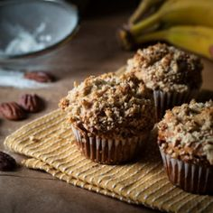 Peanut Butter & Banana Muffins with Pecan Streusel.