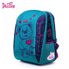 8d8eabc2d85c Children Delune School Bag large capacity School backpack bear owl Print  Orthopedic Embossed Girls backpack 3