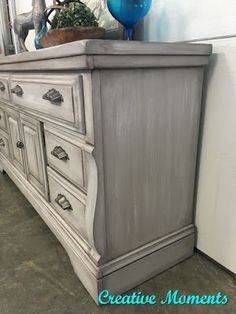 refinishing furniture Rustic Grey Farmhouse Dresser in Fusion pebble Painted Bedroom Furniture, Grey Furniture, Farmhouse Furniture, Repurposed Furniture, Rustic Furniture, Home Furniture, Grey Distressed Furniture, Furniture Outlet, Cheap Furniture