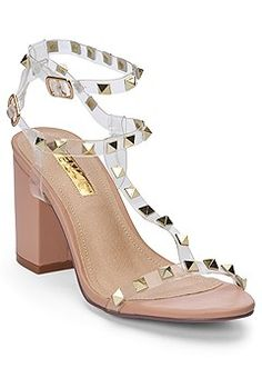 NEW Venus Transparent Studded Heels Size New Shoes, Shoes Heels Boots, Women's Shoes Sandals, Studded Heels, Pretty Shoes, Peep Toe Pumps, T Strap, Latest Fashion For Women, Block Heels