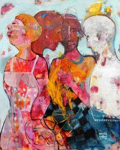 "Saatchi Art Artist RENATA KACOVA; Painting, ""FRIENDS"" #art Acrylic Painting Canvas, Saatchi Art, Original Paintings, Friends, Artist, Acrylics, Cookies, Summer, Biscuits"