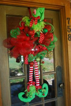 Elf wreath for Christmas with flannel legs by woodburlapandlace, $75.00