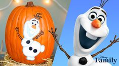 Not all pumpkins have to be spooky! Add some Frozen fun to your Halloween with this adorable DIY Olaf Pumpkin Painting craft. Visit HP: http. Halloween Party Themes, Cute Halloween Costumes, Disney Halloween, Diy Halloween Decorations, Halloween Crafts, Easy Halloween, Olaf Pumpkin, Frozen Pumpkin, Disney Pumpkin