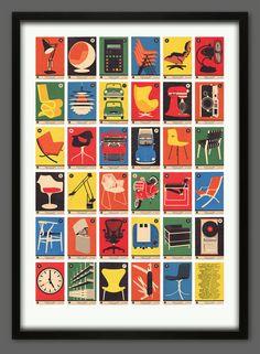 Design Classics A-Z Alphabet Print by 67 Inc