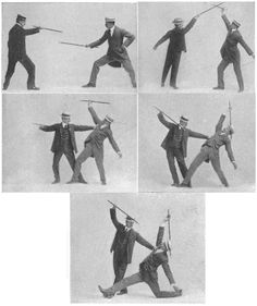 Gentlemen practicing the martial art of Bartitsu - ca. late 1890's to early 1900's