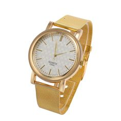 e93b26ea9d3 Goldmice Quartz Watch Women Classic Gold Stainless Steel Mesh White Dial  with Gift Box