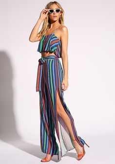 A colorful pair of palazzo pants featuring high side slits. Style with the matching pinstripe layered crop top! Two Piece Outfit, My Outfit, Outfit Ideas, Girl Fashion, Fashion Outfits, Junior Outfits, Palazzo Pants, Dress Skirt, Cool Designs