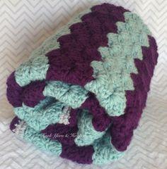Striped Stroller Unisex Baby Blanket Crochet  by HookYarnAndHooper