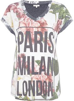 Grey floral Paris London Milan print t-shirt - print t-shirts / vests - t shirts / vests / sweats - women #tee #text #fashion #style #styling #tshirt #top #outfit #cute #words #quote
