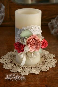Weddbook is a content discovery engine mostly specialized on wedding concept. You can collect images, videos or articles you discovered  organize them, add your own ideas to your collections and share with other people - LW Designs: Vintage Rose Candle Wrap - Idea for wedding decorations or unity candle ceremony. doily #doily