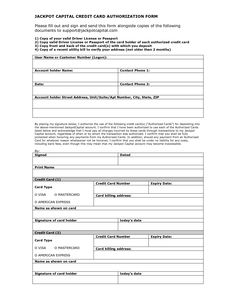 Credit Card Payment Form Obtain Authorization Use Letter Sample