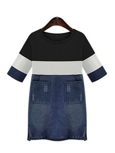 Ericdress Color Block Pocket Casual Dress