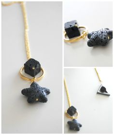 Handmade geometric necklace with lava stones,black and gold color by murmurcreations on Etsy