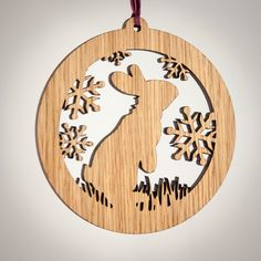 Rabbit Christmas Wood Ornament - Woodland Animal Silhouette Laser Cut Wooden Tree Decoration - White Oak Bunny Ornament - Wildlife Ornament by LadyMaggies on Etsy https://www.etsy.com/listing/252837180/rabbit-christmas-wood-ornament-woodland