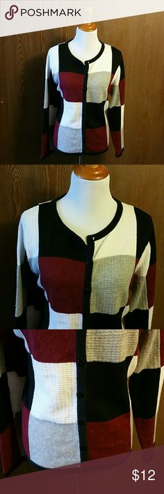 Christopher & Banks Checkered Sweater Size XL EUC EUC Size X-Large.  No snags, stains or piling.  Christopher & Banks button up sweater with Square black buttons.  Checker pattern of white,  maroon,  grey and black squares. Christopher & Banks Sweaters Cardigans