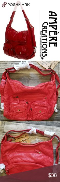 AMPERE CREATIONS convertible bag Red faux leather versatile bag (crossbody, hobo, and backpack). Brass toned hardware. NWT Ampere Creations Bags