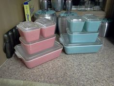 Pink & Turquoise Pyrex refrigerator sets