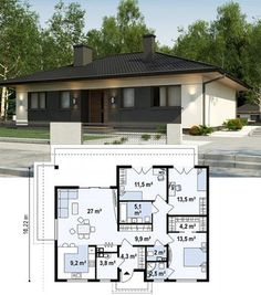 If you want to have an ecological and lifelong house, you are at your right place. Structures made Small House Floor Plans, House Layout Plans, Bungalow House Plans, Family House Plans, Dream House Plans, Modern House Plans, House Layouts, Modern House Design, House Construction Plan