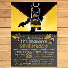 Lego Batman Birthday Invitation Chalkboard Yellow Black * Lego Batman  Movie Invite * Lego Batman Birthday * Lego Batman Printables by MonksTavern, $7.95 USD