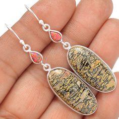 Dinasour Bone 925 Sterling Silver Earrings Jewelry SE126994