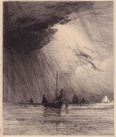 "Gaston de Latenay, etching// ""Who is this that even the winds and waves obey… Gravure Illustration, Pencil Illustration, Intaglio Printmaking, Drypoint Etching, Etching Prints, Wood Engraving, Art Plastique, Illustrations, Vikings"