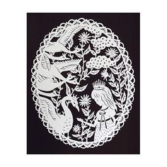 Original Papercut - The Six Swans - Grimm's Fairy Tale - Handcut Paper Illustration. $75.00, via Etsy.