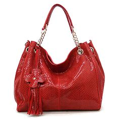 """This designer-inspired handbag is genuine leather with a zip-top closure, featuring gold-tone hardware. Color: Red ~ Size: 14"""" x 12"""" x 6"""" (L x H x W) $109.99"""