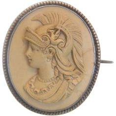 Very fine crafted oval  Lava Cameo brooch depicting the  beautiful profile of the Goddess Minerva.The Cameo has great detail  and is very expressive.