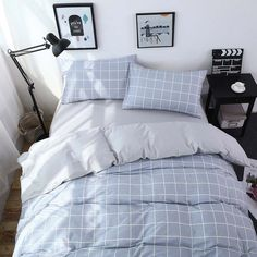 Vougemarket Super Soft Full Cotton Duvet Cover Duvet Cover 2 Pillow Shams),Simple Grid Pattern Bedding Set-Full/Queen,Grid 4 -- Check out the image by visiting the link. Teen Bedroom Designs, Room Ideas Bedroom, Teen Room Decor, Small Room Bedroom, Bedroom Sets, Bedding Sets, Bedroom Decor, Queen Bedding, Bedrooms