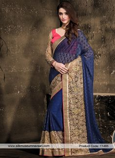 Whimsical Georgette Navy Blue Embroidered Work Designer Saree
