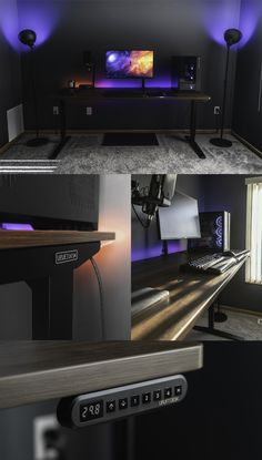 New Home Office/Gaming Setup (Ultrawide Coming Soon) - Gamer House Ideas 2019 - 2020 Computer Gaming Room, Computer Desk Setup, Gaming Room Setup, Computer Desk Organization, Pc Setup, Gaming Pcs, Music Studio Room, Home Studio Setup, Bedroom Setup