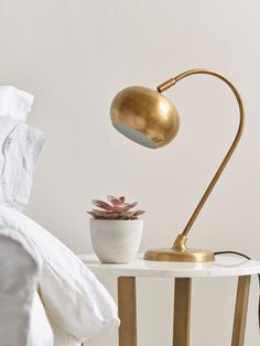 Curved Brass Table Lamp