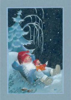 Mignonnes illustrations de Kaarina Toivanen Christmas Tale, Christmas Drawing, Vintage Christmas, David The Gnome, Decopage, Elves And Fairies, Christmas Illustration, Scandinavian Christmas, Illustrations