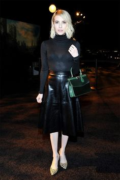 Emma Roberts, Black Leather Skirt, Turtleneck, Night Out Outfit