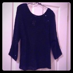 Ann Taylor Pretty black sequence knit sweater Black shimmery knit sequence sweater ✔️ 60% polyester ✔️ 13% acrylic ✔️11% nylon ✔️ 7% wool ✔️ 3% mohair.. Great to wear for the holiday parties! New With Tags Ann Taylor Sweaters Crew & Scoop Necks
