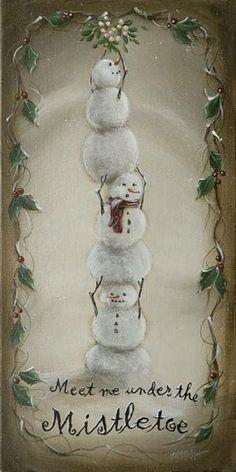 Snowman art ~ Meet Me Under the Mistletoe by McGinnis, Margie Vintage Christmas Cards, Christmas Signs, Christmas Pictures, Christmas Snowman, Winter Christmas, All Things Christmas, Christmas Holidays, Christmas Decorations, Christmas Ornaments