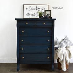 Deep Navy Blue Empire Tall Dresser with Antiqued Gold Knobs and Antiqued Details Painted By A Ray of Sunlight 6 light Refurbished Dressers, Dresser Refinish, Tall Dresser, Vintage Dressers, Painted Dressers, Blue Painted Furniture, Funky Furniture, Furniture Makeover, Paint Furniture