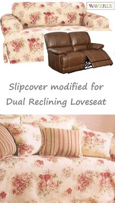 Dual Reclining LOVESEAT Slipcover T Cushion Waverly Vintage Rose Adapted  for Recliner Love Seat Dual Reclining c8a62812d
